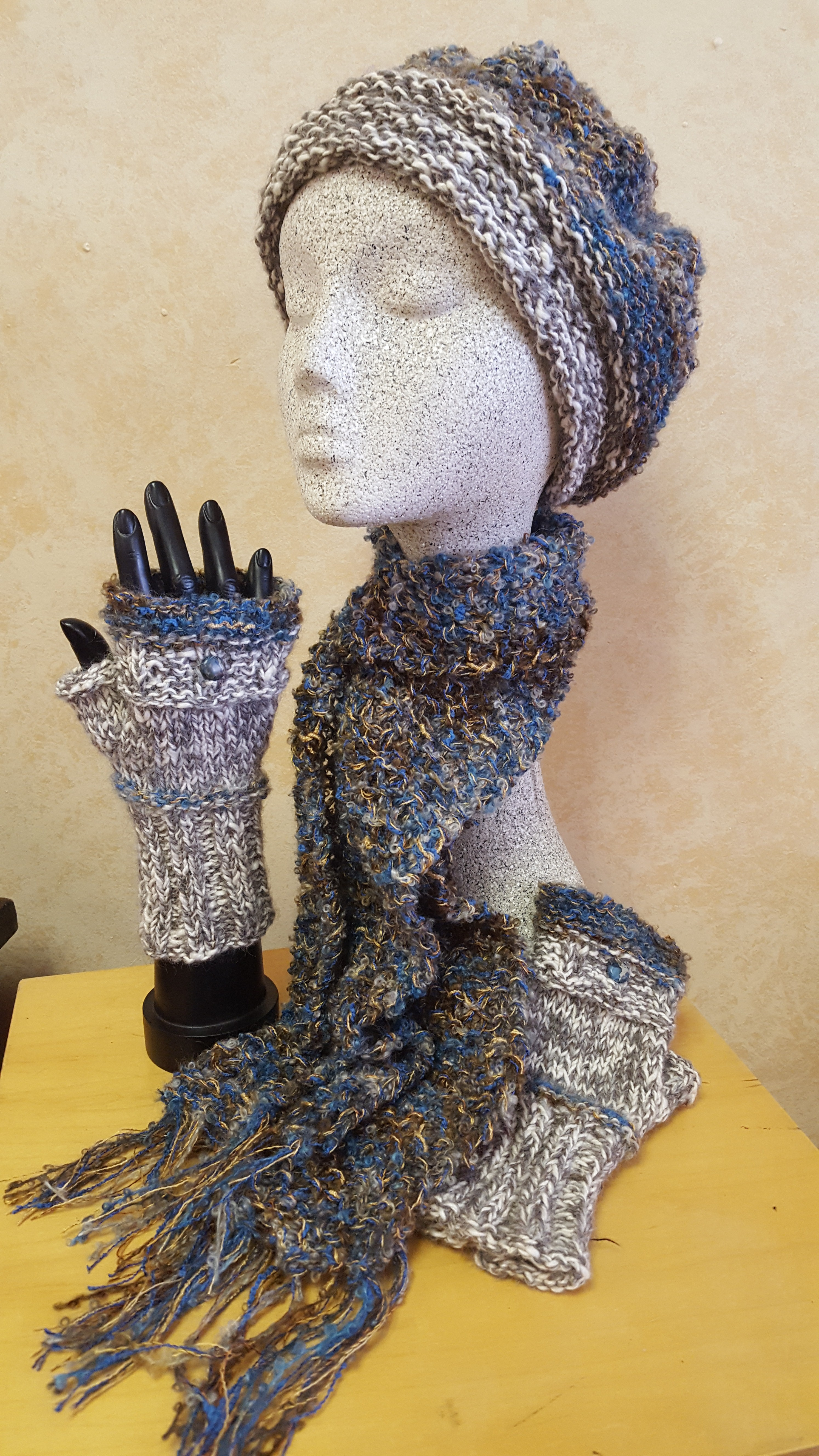 Artisania Scarf and Hat Set in Kennebunk and Grey